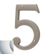 Satin Chrome House Number - 5
