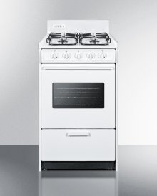 "20"" Wide Gas Range In White With Sealed Burners, Oven Window, Interior Light, and Electronic Ignition"