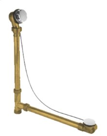 "Brass Body Cable Operated Bath Waste & Overflow Drain with Patented Flexible Overflow Neck for 22"" Tub - Antique Brass"
