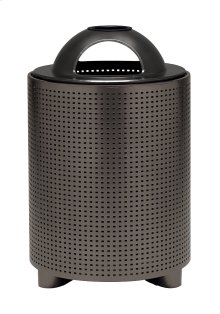 District Round Waste Receptacle with Dome Hood and Ash Urn, Square Pattern