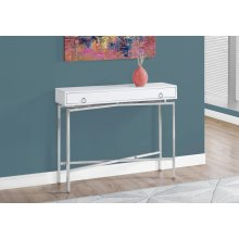 "ACCENT TABLE - 42""L / GLOSSY WHITE / CHROME HALL CONSOLE"
