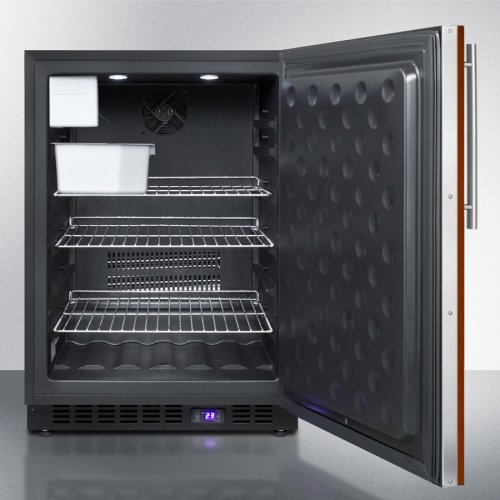 Frost-free Outdoor All-freezer for Built-in or Freestanding Use With Icemaker, Panel-ready Door, Black Cabinet, Digital Thermostat, and LED Lighting