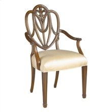 CARVED POLISHED MAHOGANY HEART SHAPED SHIELD BACK ARMCHAIR, OYSTER SILK UPH