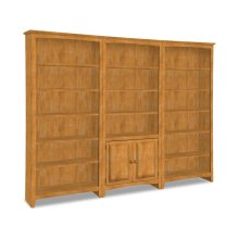 72 Inch High Bookshelf (x3 units) with Pair of Bookcase Doors
