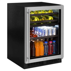 Marvel24-In Built-In Dual Zone Wine And Beverage Center with Door Style - Stainless Steel Frame Glass, Door Swing - Right