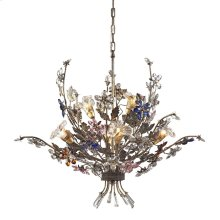 Brillare 6-Light Chandelier in Brozed Rust with Multi-Colored Floral Crystals