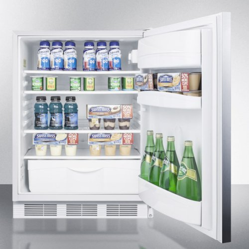 ADA Compliant All-refrigerator for Built-in General Purpose Use, Auto Defrost W/lock, Ss Wrapped Door, Horizontal Handle, and White Cabinet