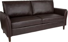 Milton Park Upholstered Plush Pillow Back Sofa in Brown Leather