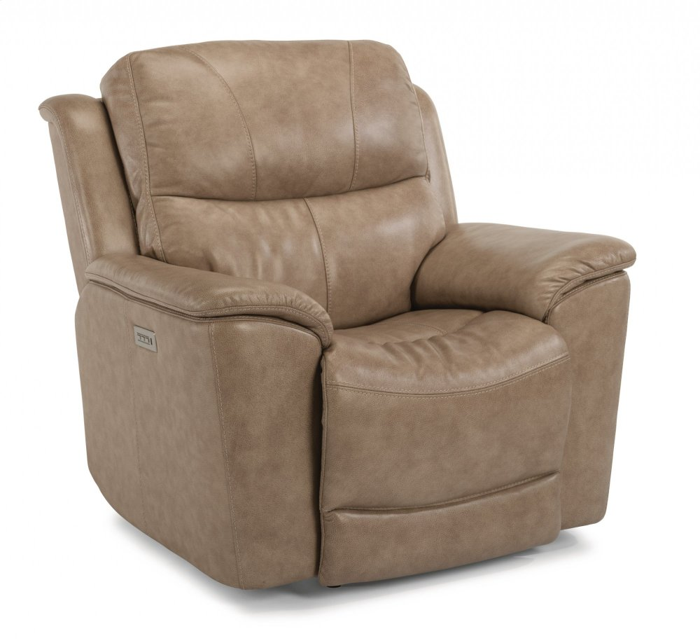 Superior Cade Leather Recliner With Power Headrest