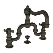 English Bronze Lavatory Bridge Faucet