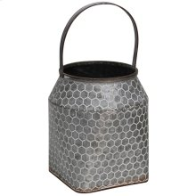 Galvanized  9in W. X 11in Ht. Metal Vase with Handle