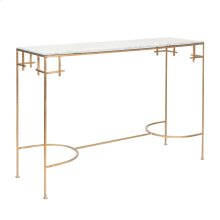 Hammered Gold Leaf Console With White Marble Top.
