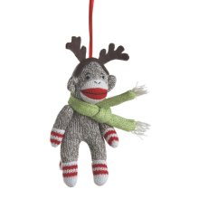 Sock Monkey with Antlers Ornament