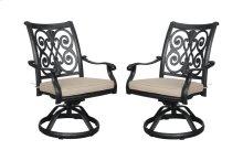 Emerald Home Versailles Outdoor Swivel Rocker Chair-beige Cushion-onyx Cast Aluminum Frame-od1045-22-05