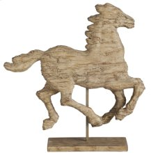 "66637  14x3x14.5"" Polyresin Horse On Stand 2EA/CTN"