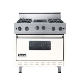 "Cotton White 36"" Open Burner Range - VGIC (36"" wide, four burners 12"" wide char-grill)"