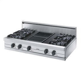 "Stainless Steel 42"" Open Burner Rangetop - VGRT (42"" wide, four burners 12"" wide char-grill)"