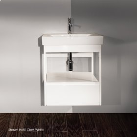 """Wall-mount under-counter vanity with finger pulls on one drawer, 22 1/4""""W, 16 1/4""""D, 24""""H."""