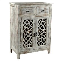 Bengal Manor Mango Wood 2 Drawer 2 Carved Door White Wash Cabinet