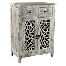 Bengal Manor Mango Wood 2 Drawer 2 Carved Door White Wash Cabinet