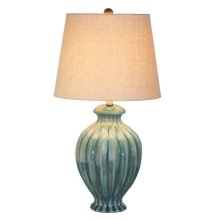 Turquoise Reactive Glaze Table Lamp. 60W Max.
