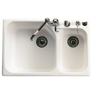Pergame Biscuit Allia Fireclay 2 Bowl Drop-In Kitchen Sink