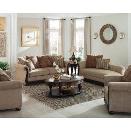 Beasley Traditional Light Brown Three-piece Living Room Set