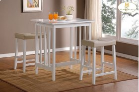 3-Piece Pack Counter Height Set, White Table : 32 x 24 x 34H Stool : 19 x 13 x 24H