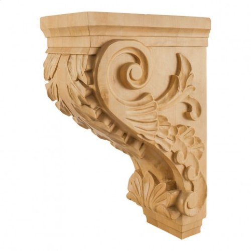 "9-1/2"" x 16"" x 24"" Large Traditional Kitchen Hood Wood Acanthus Corbel, Species: White Birch. e Hardware Resources, Inc."