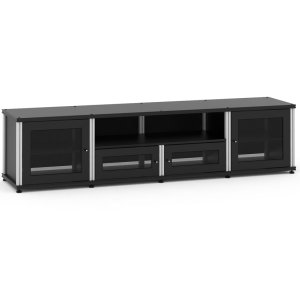 Salamander DesignsSynergy Solution 245, Quad-Width AV Cabinet, Black with Aluminum Posts
