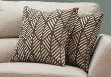 "PILLOW - 18""X 18"" / DARK TAUPE GEOMETRIC DESIGN / 2PCS"