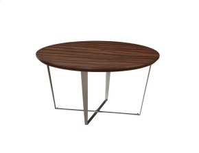 Emerald Home Cruiser Round Cocktail Table Brown Wood Top W/silver Metal Base T117-00