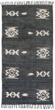 3'x6' Size Tribal Faded Black Rug