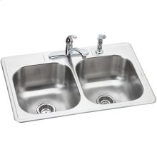 """Dayton Stainless Steel 33"""" x 22"""" x 8-1/16"""", Equal Double Bowl Drop-in Sink and Faucet Kit"""