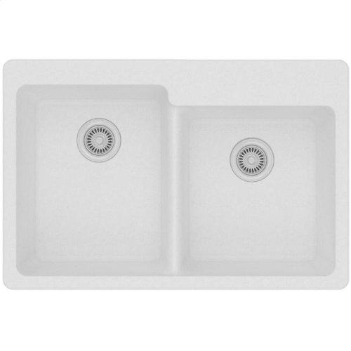 "Elkay Quartz Classic 33"" x 22"" x 9-1/2"", Offset Double Bowl Drop-in Sink, White"