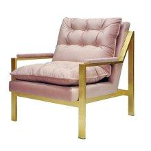 Gold Leaf Arm Chair W. Blush Velvet Cushions