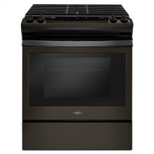 Whirlpool® 5.0 cu. ft. Front Control Gas Range with Cast-Iron Grates - Black Stainless