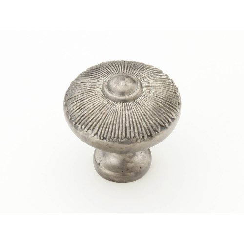 "Solid Brass, Symphony, Sunburst, Round Knob, 1-1/2"" diameter, Silver Antique finish"