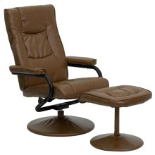 Contemporary Multi-Position Recliner and Ottoman with Wrapped Base in Palimino Leather