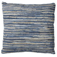 Blue & Beige Leather Chindi Floor Pillow (Each One Will Vary)
