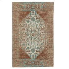 Tan & Turquoise Antique Wash 2'x3' Jacquard Rug.