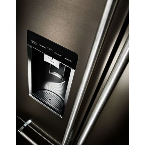 "KitchenAid® 23.8 cu. ft. 36"" Counter-Depth French Door Platinum Interior Refrigerator with PrintShield™ Finish - Black Stainless"