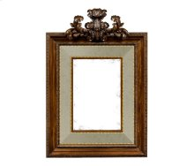 Large Carved Honey Walnut Mirror, Upholstered in MAZO