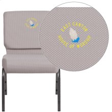 Embroidered HERCULES Series 21'' Wide Gray Dot Fabric Stacking Church Chair with 4'' Thick Seat - Silver Vein Frame