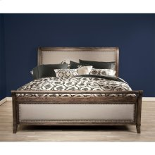 Belmeade - Queen Sleigh Upholstered Footboard - Old World Oak Finish