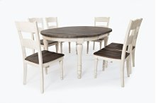 Madison County Round To Oval Table With 4 Chairs - Vintage White