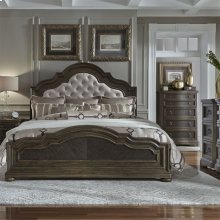 Opt Queen Uph Bed, Dresser & Mirror, NS