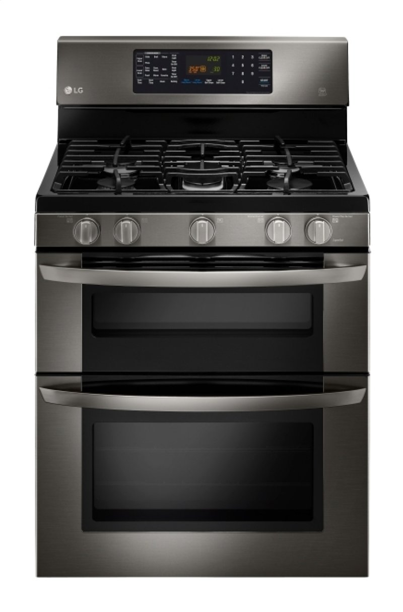Lg Black Stainless Steel Series 6 1 Cu Ft Capacity Gas Double Oven Range With