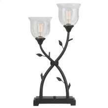 60X 2 OZARK WRUGHT IRON TABLE LAMP WITH GLASS SHADES (Edison bulbs are not included)