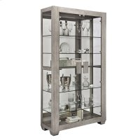 Modern Lighted 5 Shelf Curio Cabinet in Ashwood Taupe Product Image